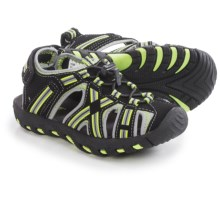 Khombu Rex Stripe Sandals - Waterproof (For Little Boys) in Black/Lime - Closeouts