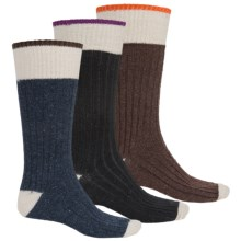 Khombu Ribbed Boot Socks - 3-Pack, Crew (For Men) in Black/Navy/Brown - Closeouts
