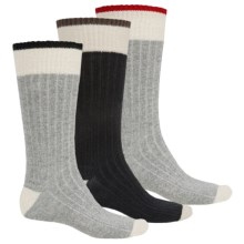 Khombu Ribbed Boot Socks - 3-Pack, Crew (For Men) in Charcoal/Grey - Closeouts