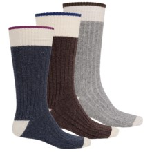 Khombu Ribbed Boot Socks - Crew, 3-Pack (For Men) in Brown/Grey/Navy - Closeouts