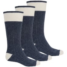 Khombu Ribbed Boot Socks - Crew, 3-Pack (For Men) in Navy - Closeouts