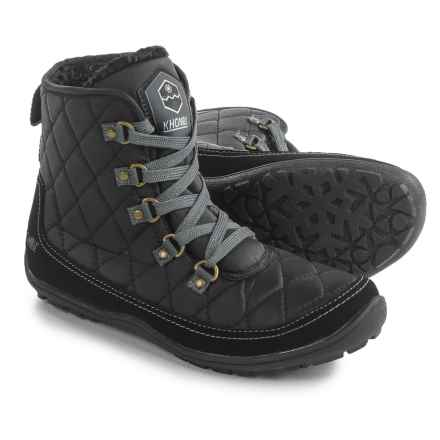 Khombu Serina Quilted Lace-Up Boots - Waterproof, Insulated (For Women) in Black - Closeouts