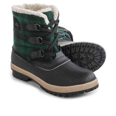 Khombu Telluride Winter Boots - Insulated, Fleece Lined (For Women) in Green Plaid - Closeouts