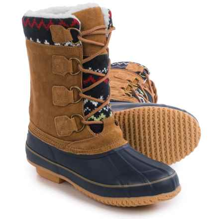 Khombu Vail Pac Boots - Waterproof (For Women) in Tan/Navy - Closeouts