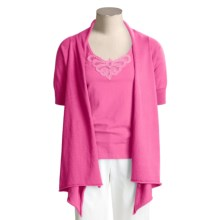 Kial Cotton-Rich Cardigan Sweater - Drape Front (For Women) in Carmine Rose - Closeouts