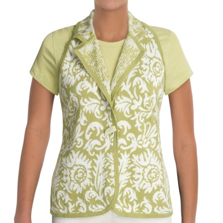 Kial Garden Floral Vest - Cotton (For Women) in Sage Multi