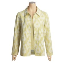 Kial Ikat Shirt Jacket - Cotton (For Women) in Sage/ Egret - Closeouts