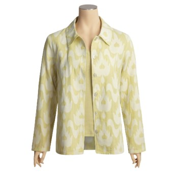 Kial Ikat Shirt Jacket - Cotton (For Women) in Sage/ Egret