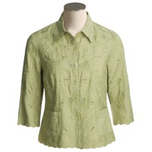 Kial Linen-Rich Battenberg Jacket (For Women) in Sage - Closeouts