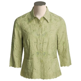 Kial Linen-Rich Battenberg Jacket (For Women) in Sage