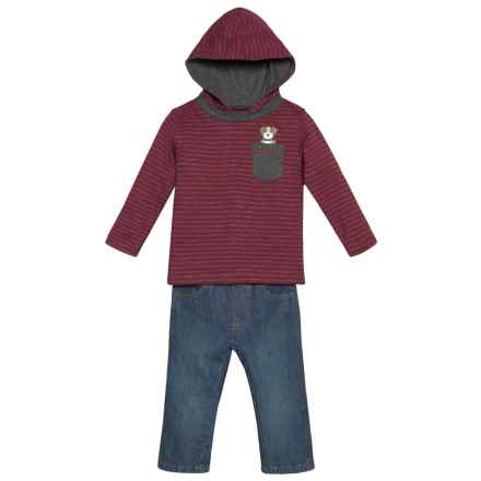 Kids Headquarters Hoodie Shirt and Jeans Set (For Infant Boys) in Burgandy Stripe/Denim - Closeouts