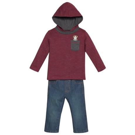 Kids Headquarters Hoodie Shirt and Jeans Set (For Infant Boys) in Burgandy Stripe/Denim