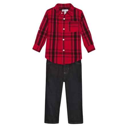 Kids Headquarters Plaid Shirt and Jeans Set - Long Sleeve (For Toddler Boys) in Red Plaid/Dark Denim - Closeouts