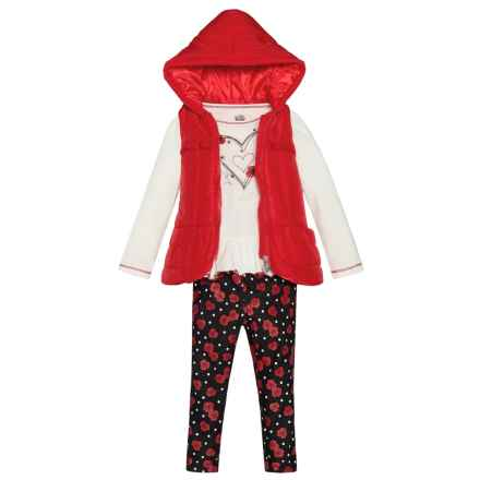 Kids Headquarters Puffer Vest, Shirt and Leggings Set (For Toddler Girls) in Red/Natural/Black - Closeouts