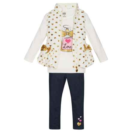 Kids Headquarters Shirt, Vest and Jeggings Set - Long Sleeve (For Toddler Girls) in White W/Gold Hearts/Denim - Closeouts