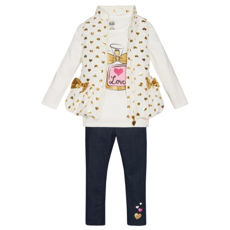 Kids Headquarters Shirt, Vest and Jeggings Set - Long Sleeve (For Toddler Girls) in White W/Gold Hearts/Denim