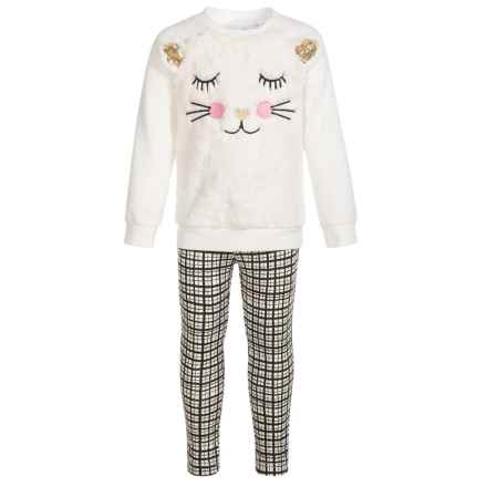 Kids Headquarters Sweatshirt and Leggings Set (For Little Girls) in White Kitten/White/Black Plaid - Closeouts