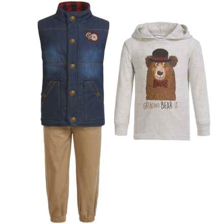 Kids Headquarters Vest, Hoodie Shirt and Pants Set - 3-Piece Set, Long Sleeve (For Infant Boys) in Denim Vest/Grin&Bear It/Khaki - Closeouts