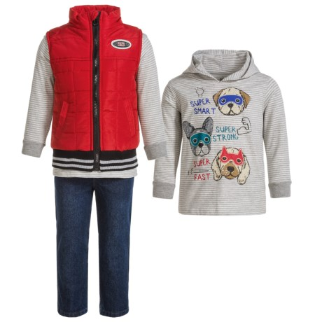 Kids Headquarters Vest, Hoodie Shirt and Pants Set - 3-Piece Set, Long Sleeve (For Infant Boys) in Red Vest/Super Puppies