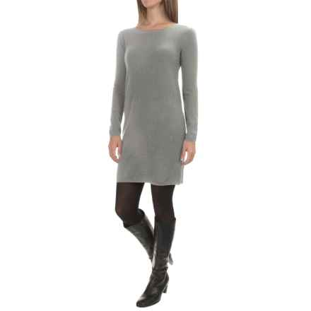 Kier & J Solid Cashmere Knit Dress - Long Sleeve (For Women) in Inox - Overstock