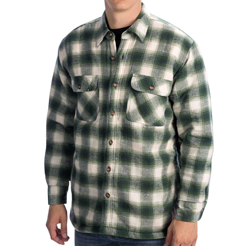 Kilimanjaro flannel shirt jacket sherpa lined for men for Sherpa lined flannel shirt