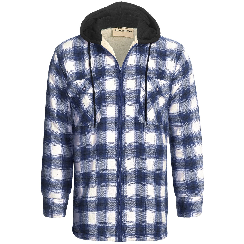 Mens Plaid Flannel Hooded Jacket Bronze Cardigan