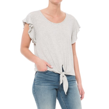 Kim & Cami Tied Flutter-Sleeve Shirt - Short Sleeve (For Women) in Heather Grey/Ivory