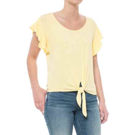 Kim & Cami Tied Flutter-Sleeve Shirt - Short Sleeve (For Women) in Yellow/Off White - Closeouts