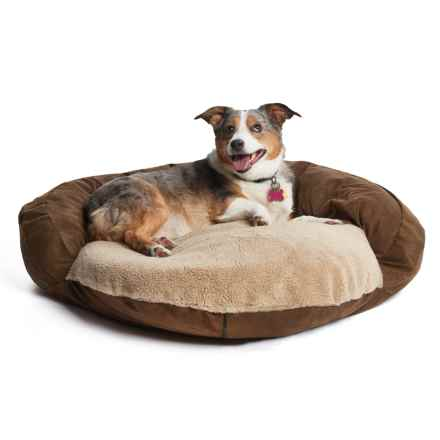 "Kimlor Microsuede Bolster Dog Bed - 30"" Round in Brown - Closeouts"