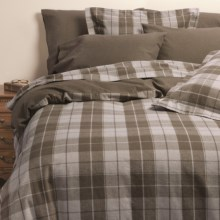 Kimlor Sierra Plaid Flannel Duvet Cover Set - Full-Queen, 6 oz. Cotton in Light Brown - Closeouts