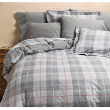 Kimlor Sierra Plaid Flannel Duvet Cover Set - King, 6 oz. Cotton in Grey - Closeouts