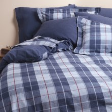 Kimlor Sierra Plaid Flannel Duvet Cover Set - King, 6 oz. Cotton in Navy - Closeouts