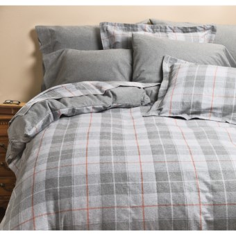 Kimlor Sierra Plaid Flannel Sheet Set - Queen, 6 oz. Cotton in Grey
