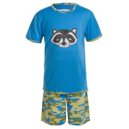 Kings n Queens Animal Face T-Shirt and Shorts Pajamas - Short Sleeve (For Little and Big Kids) in Animal Face Set - Closeouts