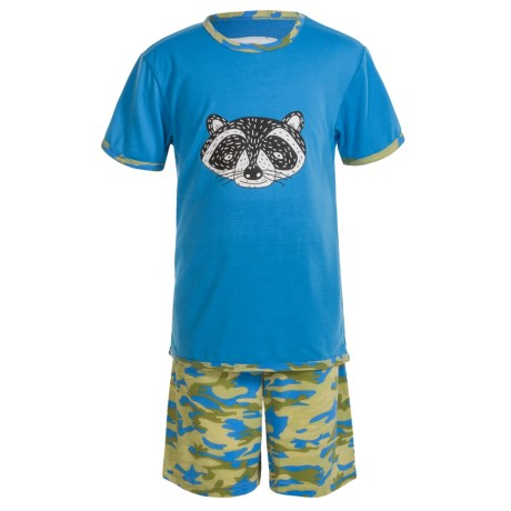 Kings n Queens Animal Face T-Shirt and Shorts Pajamas - Short Sleeve (For Little and Big Kids) in Animal Face Set