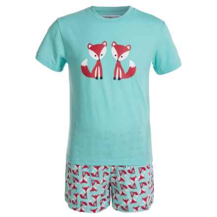 Kings n Queens Fox Print T-Shirt and Shorts Pajamas - Short Sleeve (For Little and Big Kids) in Fox Set - Closeouts