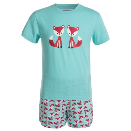 Kings n Queens Fox Print T-Shirt and Shorts Pajamas - Short Sleeve (For Little and Big Kids) in Fox Set