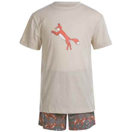 Kings n Queens Fox T-Shirt and Shorts Pajamas - Short Sleeve (For Little and Big Kids) in Fox Set - Closeouts