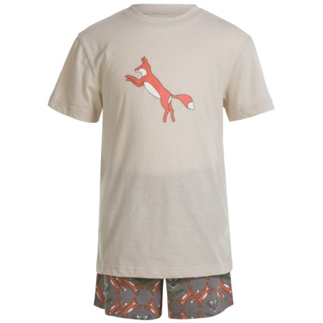 Kings n Queens Fox T-Shirt and Shorts Pajamas - Short Sleeve (For Little and Big Kids) in Fox Set