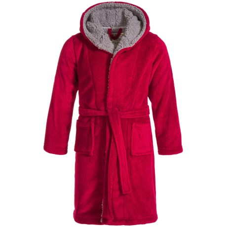 Kings N Queens Hooded Fleece Robe - Long Sleeve (For Little and Big Boys) in Red/Grey