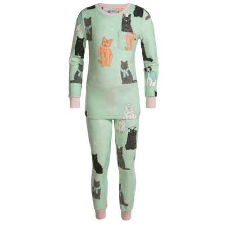 Kings N Queens It's Kitten Chilly Pajamas - Long Sleeve (For Little and Big Girls) in Mint Multi - Closeouts