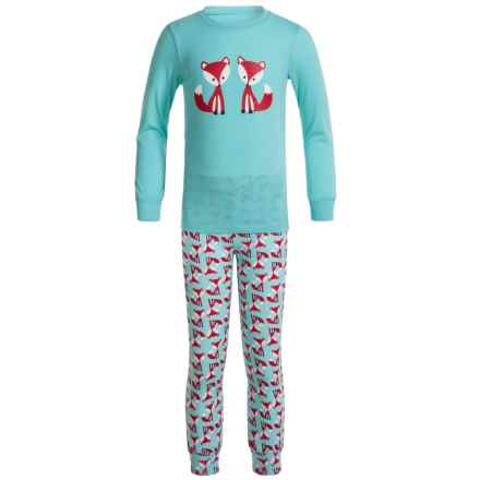 Kings N Queens Knit Jersey Printed Pajamas - Long Sleeve (For Little and Big Kids) in Turqouise Fox - Closeouts
