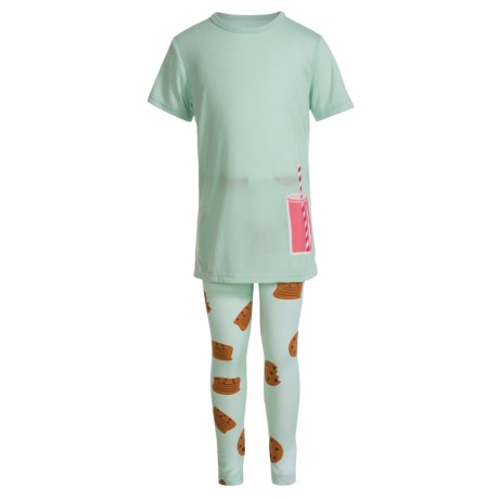 Kings n Queens Milk and Cookies Pajamas - Short Sleeve (For Little and Big Girls) in Mint