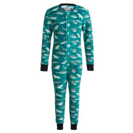 Kings N Queens Plush One-Piece Pajamas - Long Sleeve (For Little and Big Boys) in Teal Multi Shark - Closeouts