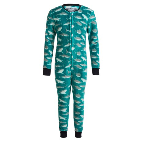 Kings N Queens Plush One-Piece Pajamas - Long Sleeve (For Little and Big Boys) in Teal Multi Shark