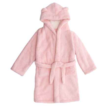 Kings N Queens Sherpa Teddy Bear Bath Robe - Long Sleeve (For Little and Big Girls) in Light Pink/White - Closeouts