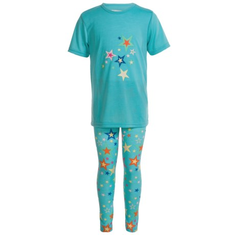 Kings n Queens Stars Pajamas - Short Sleeve (For Little and Big Girls) in Turqoise