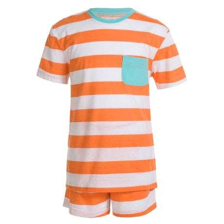 Kings n Queens Striped T-Shirt and Shorts Pajamas - Short Sleeve (For Little and Big Kids) in Striped