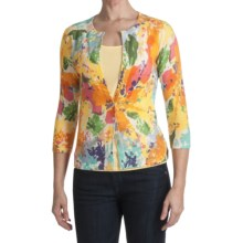 Kinross Cashmere Cardigan Sweater - Abstract Floral, 3/4 Sleeve (For Women) in Multi - Closeouts