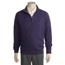 Kinross Cashmere Diamond Texture Sweater - Zip Neck (For Men) in Regal - Closeouts
